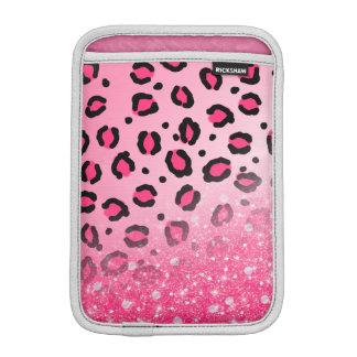 Teen Girls Pink Leopard Print Faux Sparkly Glitter iPad Mini Sleeve