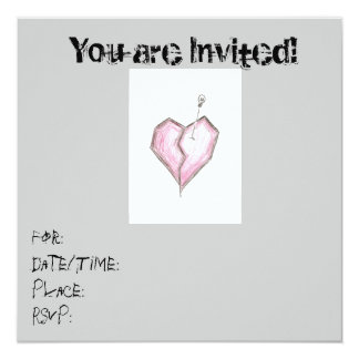 Teen Heart Skull Invitations Birthday/ any occas