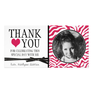 Teen Hot Pink Zebra Thank You with Photo Card
