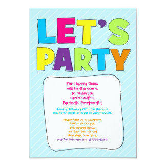 Teen Party Invitation - Let's Party!