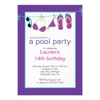 Teen Pool Party Invitation Flip Flops Clothesline