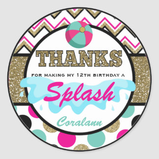 Teen Pool Party Thank You  Favor Tag  Personalized