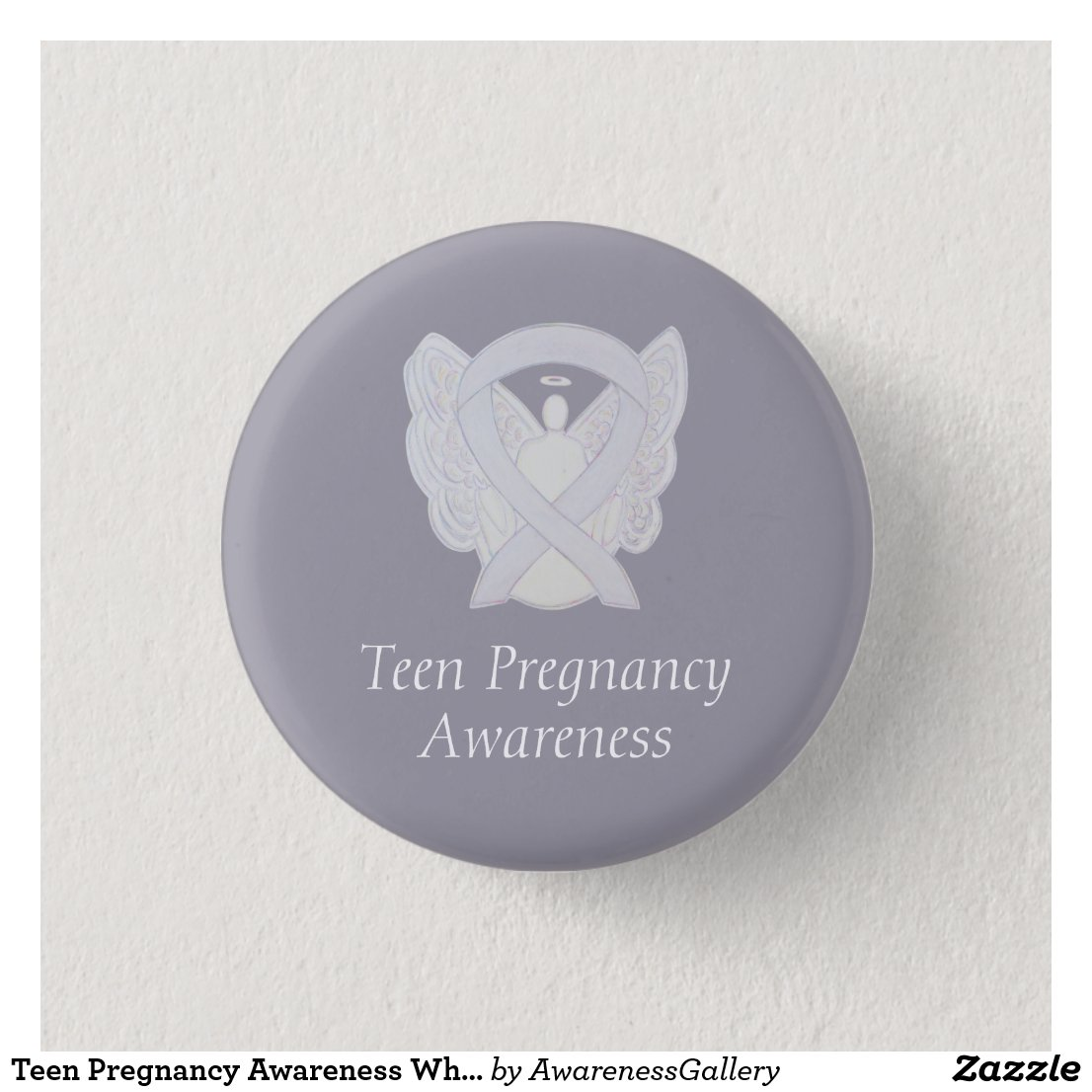 Teen Pregnancy Awareness White Ribbon Angel Pin