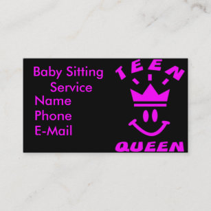 teen queen babysitting business cards - Babysitting Business Cards