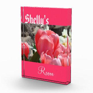 Teen Room wall Plaque Child's Name Pink Tulips Acrylic Award