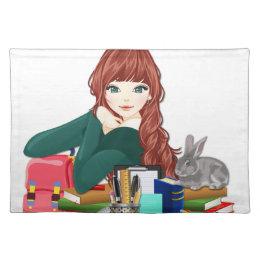 Teen Student Schoolgirl supplies back to school Cloth Placemat