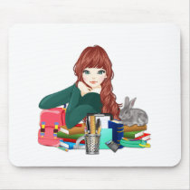 Teen Student Schoolgirl supplies back to school Mouse Pad