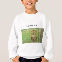 teen sweat shirt, Lion, caged, zoo animal Sweatshirt
