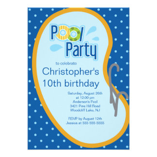 Teen Swimming Pool Party Invitation Blue