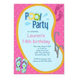 Teen Swimming Pool Party Invitation Flip Flops