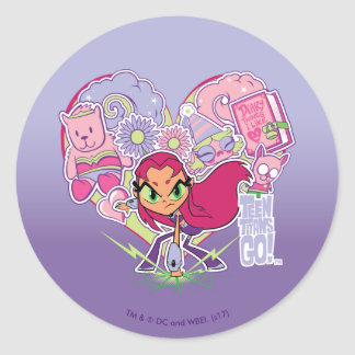 Teen Titans Go! | Starfire's Heart Punch Graphic Classic Round Sticker