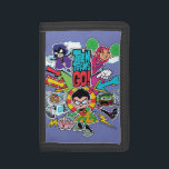 "Teen Titans Go! | Team Arrow Graphic Trifold Wallet<br><div class=""desc"">The Teen Titans rush off to save the day in this fast-paced, arrow themed graphic. Raven, Starfire, Cyborg, Robin, and Beast Boy are rushing forward around the Teen Titans Go! logo, with Silkie too! Get your Teen Titans Go! team graphic on a shirt, tote bag, or any of your favorite...</div>"