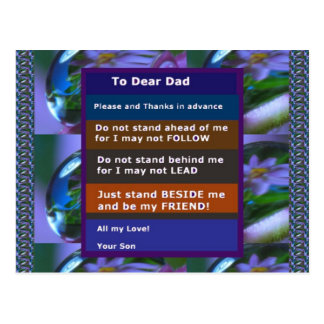 TEEN  to DAD: FUNNY SERIOUS inspiration LOWPRICE Postcard