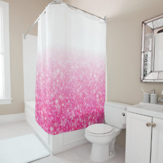 Teen Tween Girls Sparkly Pink Glitter Ombre Shower Curtain