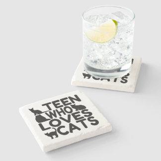 Teen Who Loves Cats Stone Coaster