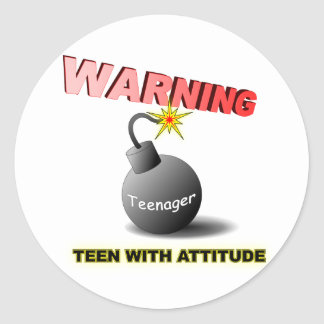 Teen with attitude classic round sticker