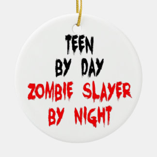 Teen Zombie Slayer Double-Sided Ceramic Round Christmas Ornament