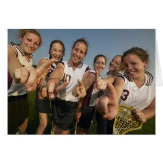 Teenage (16-17) lacrosse team signalling number greeting cards