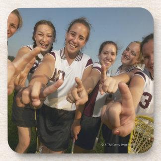 Teenage (16-17) lacrosse team signalling number coaster