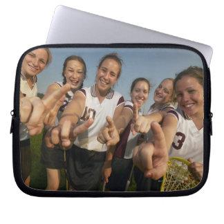 Teenage (16-17) lacrosse team signalling number laptop sleeve