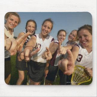 Teenage (16-17) lacrosse team signalling number mouse pad