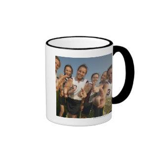 Teenage (16-17) lacrosse team signalling number coffee mugs