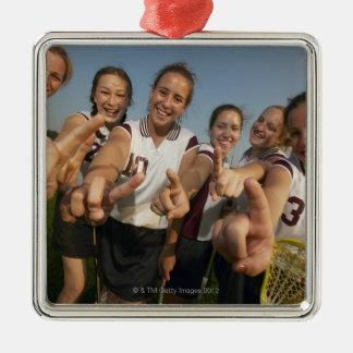 Teenage (16-17) lacrosse team signalling number christmas ornament