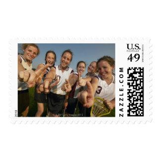 Teenage (16-17) lacrosse team signalling number stamps