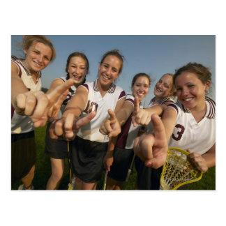 Teenage (16-17) lacrosse team signalling number postcard