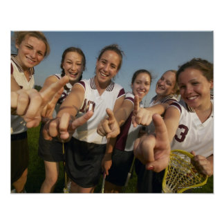 Teenage (16-17) lacrosse team signalling number poster