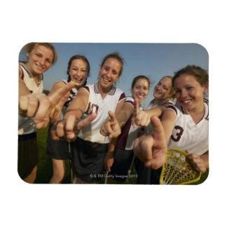 Teenage (16-17) lacrosse team signalling number magnets