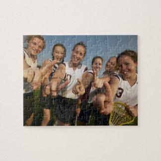 Teenage (16-17) lacrosse team signalling number jigsaw puzzle