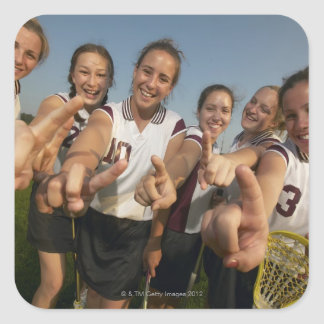 Teenage (16-17) lacrosse team signalling number square stickers