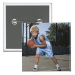 Teenage boy on basketball court 2 2 inch square button