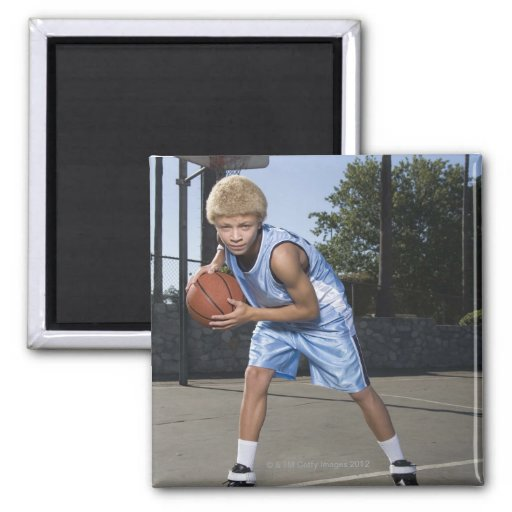 Teenage boy on basketball court 2 refrigerator magnet