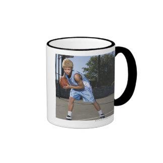 Teenage boy on basketball court 2 ringer mug