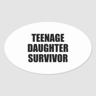 Teenage Daughter Survivor Oval Sticker