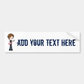 Teenage Emo Boy Rock Guitarist with Brown Hair Bumper Stickers