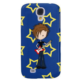Teenage Emo Boy Rock Guitarist with Brown Hair Galaxy S4 Cover