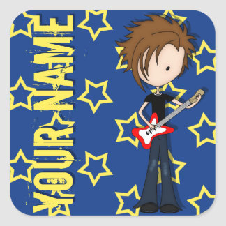 Teenage Emo Boy Rock Guitarist with Brown Hair Square Stickers