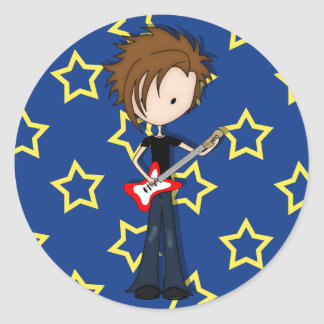 Teenage Emo Boy Rock Guitarist with Brown Hair Round Stickers