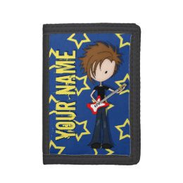 Teenage Emo Boy Rock Guitarist with Brown Hair Trifold Wallets