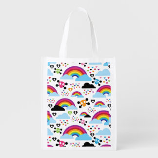 Teenage emo rainbow skull background grocery bag