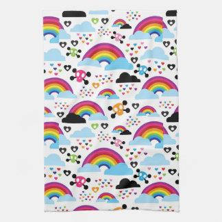 Teenage emo rainbow skull background kitchen towel