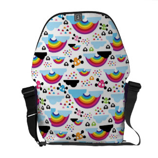 Teenage emo rainbow skull background messenger bag