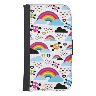 Teenage emo rainbow skull background galaxy s4 wallet case