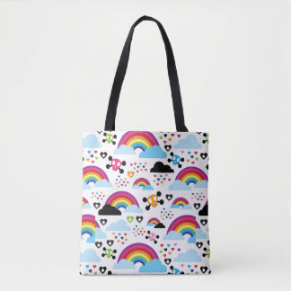 Teenage emo rainbow skull background tote bag