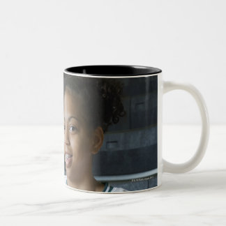 Teenage girl (13-15) wearing basketball uniform, Two-Tone coffee mug