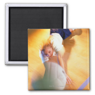 Teenage Girl Playing Volleyball 2 Inch Square Magnet