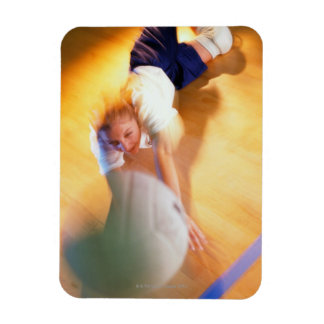 Teenage Girl Playing Volleyball Rectangular Photo Magnet